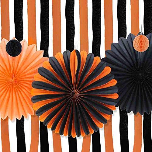 OLUYNG (Naranja, Negro Kit de decoración de Halloween Molinetes de Papel de Halloween Cortinas de Papel crepé Contexto de Serpentina Decoración de Fiesta de Halloween
