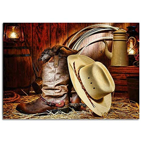 DIY Diamond Painting Stitch Kits'Cowboy Boots Cap'Diamond Embroidery 5D Square Full Rhinestone Mosaic Pattern Home Decoration-40x50cm