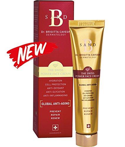 B-SAND – Soin Anti Âge – 40 ml – Innoderm – The Swiss Power Face Cream – Efficace contre Tous les Signes de Vieillissement : Rides/Taches/Rougeurs/Sécheresse/Perte d'Élasticité