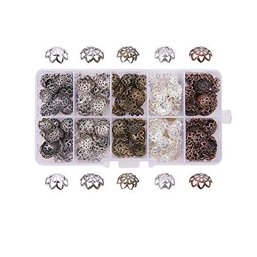 Caja de cascarillas con forma de flor para abalorios PandaHall, 525 unidades, 9 x 4 mm, diseños variados, hierro, agujero de 1 mm, 10 g por compartimento, mixto, null