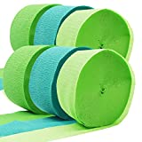 Summer Green Crepe Paper Streamer Rolls Hanging Party Decoration Total 490-Feet, 6 Rolls, Christmas Party Streamer for DIY Art Project Supplies,Green, Lime Green, by BllalaLab