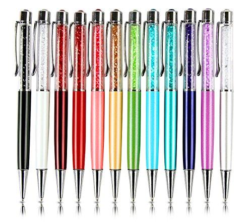 Mengran®, penna a sfera in metallo, con brillanti e strass, punta retrattile, colore nero/bianco/rosa/rosso/rosa/oro/verde/azzurro/blu scuro/blu pavone/viola/argento, set da 12