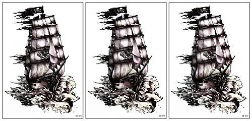 Umama Big Tattoos 3 Sheets Boat Temporary Tattoos Patterned Body Art Waterproof Mens Womens Kids Fancy Pirate Ship Boat Cartoon Sticker Fun party Tattoo Fake
