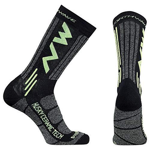 Northwave Husky Ceramic 2 Winter Fahrrad Socken schwarz/gelb 2020: Größe: M (40-43)