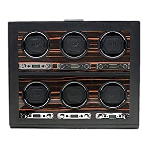 Wolf Designs 459256 Roadster Collection Module 2.7 Six Watch Winder with Cover, Ebony image