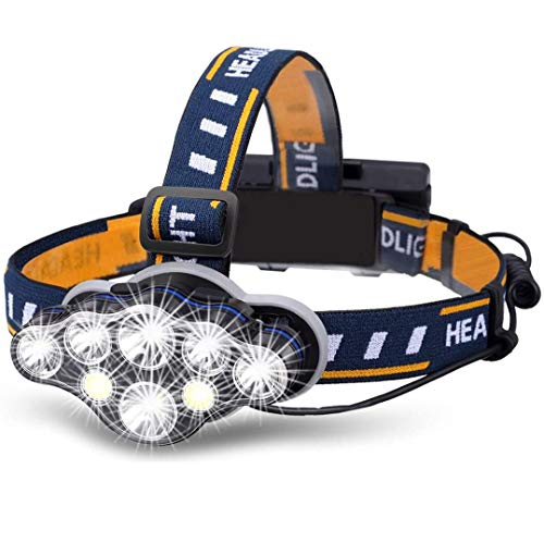 MOBEST Head Torch Super Bright Headlight Rechargeable Waterproof with Red Flash Light Head Torch18000 Lumens 8 LED 8 Modes Headlamp for CampingFishingRunningJoggingReadingWorking