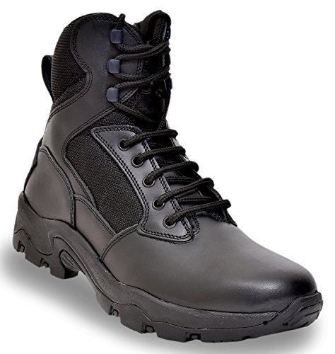 Allen Cooper AC-6053 Zipper Combat Safety Boot, ISI Marked for IS 15298, Speed Lacing, Size 8 (BLACK)
