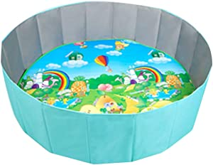 Activity Centres Children s Folding Fence Boy Crawling Mat Girl Safety Bar Game Room Ocean Ball Pool  Color Blue-A  Size 120 120 34cm