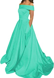 4e4c2960acb8 TZBride Satin Off The Shoulder Party Dress A line Short Sleeves Formal Prom  Dress with Pocket