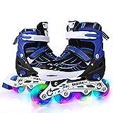 Hikole Patines en línea, patines ajustables con ruedas iluminadas, 2 colores y 3 tamaños, patines en línea para niños, niñas y niños pequeños