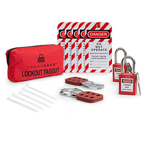 TRADESAFE Lockout TAGOUT KIT with Hasps, Loto Tags, Red Safety Padlocks | OSHA Compliance for Electrical Lock Out Tag Out Kits, Locks, and Loto Lock Set (1 Key Per Lock)