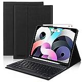 Teclado para iPad Air 4 2020, DINGRICH Español Ñ Funda Teclado Bluetooth Inalámbrico Desmontable Extraíble para iPad Air 4 10.9'/iPad Pro 11' 2020/2018 Auto-Sueño/Estela con Portalápices Negro