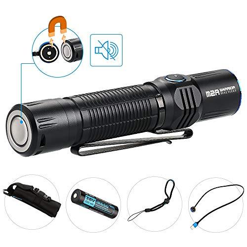 OLIGHT M2R Warrior LED Taschenlampe, 1500 Lumen Taktische Taschenlampe mit 208 Metern Leuchtweite, 6 Leuchtmodi, Aufladbare Taschenlampen mit MCC USB-Magnetladekabel, 18650 3500mAh Akku enthalten