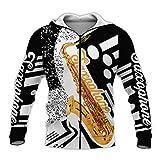 UJDKCF Ropa de Arte de saxofón 3D Sudadera con Capucha/Sudadera/Sudadera con Capucha con Cremallera Zip Hoodie 3XL