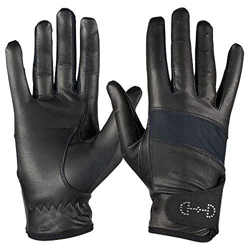 Horze Evelyn damskie oddychające rękawiczki do jazdy konnej, rozmiar 4,5-10, białe, granatowe, czarne, 8