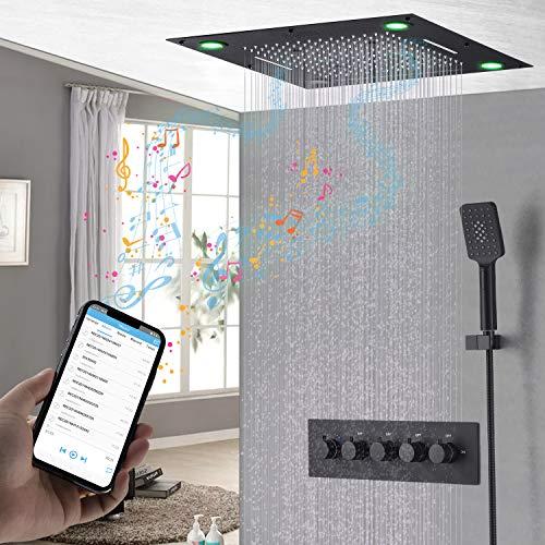 hm Musik Duschsystem,LED Multifunktional schwarz Dusche mit konstanter temperatur,600x600 mm RGB Rainshower Brausegarnitur,Spa spray,Regen,304 Edelstahl, Duscharmatur,Handbrause
