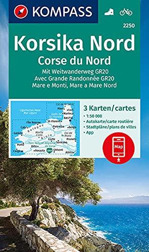 KOMPASS Wanderkarte Korsika Nord, Corse du Nord, Weitwanderweg GR20: 3 Wanderkarten 1:50000 im Set inklusive Karte zur offline Verwendung in der KOMPASS-App. Fahrradfahren. (KOMPASS-Wanderkarten)