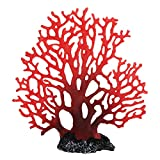 Doitool Plantas Artificiales de Coral Falsas Plantas Marinas Submarinas Resina Ornamento de Coral Rojo para La Decoración del Paisaje del Acuario del Tanque de Peces