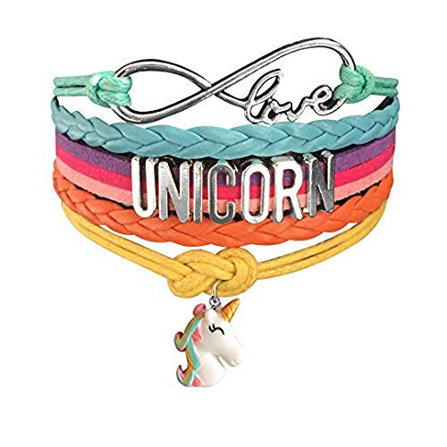 Ac Union Cute Unicorn Infinity Love Charm Wristband Handmade Leather Bracelet Gift for Gril (Unicorn-004)