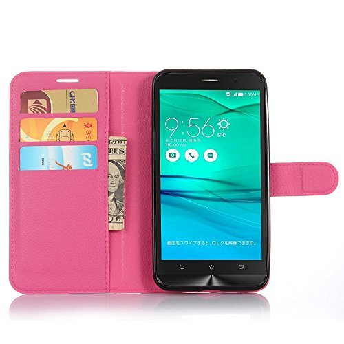 Tasche für Asus ZenFone Go ZB551KL (5.5 zoll) Hülle, Ycloud PU Ledertasche Flip Cover Wallet Hülle Handyhülle mit Stand Function Credit Card Slots Bookstyle Purse Design Rose Red