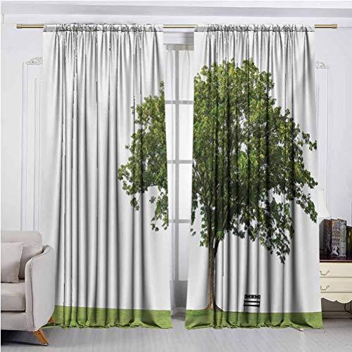 Cortinas opacas para ventana, banco bajo majestuoso árbol se ve como símbolo de soledad en diseño de hábitat, apto para cualquier escena de habitación W84 x L108