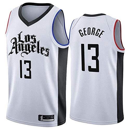 LJLis NBA Clippers #13 Paul George Maglia da Basket Unisex Sportswear Traspirante Senza Maniche T-Shirt Ricamata Canotta Sportiva Leggera Estiva,White2,M