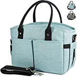 Insulated Lunch Bags for Women - Large Cooler Tote Adult Lunch Box for Women with Shoulder Strap,Water Bottle Holder and Side Pockets