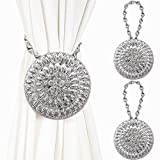 Mikomer 2PCS Curtain Tiebacks Buckle Magnetic Clips No Drilling Drapery Holdbacks Holders with Stainless Spring Wire Rope for Bedroom,Living-Rooms,Office Decoration,Silvery