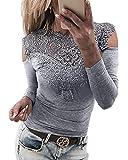 YOINS Femmes Tee-Shirt Sexy Haut Épaules Dénudées Tops Moulante Dentelle Manches Longues Mode Shirt Épaule-Gris XS