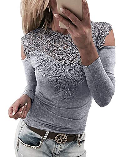 YOINS Femmes Tee-Shirt Sexy Haut Épaules Dénudées Tops Moulante Dentelle Manches Longues Mode Shirt Épaule-Gris S