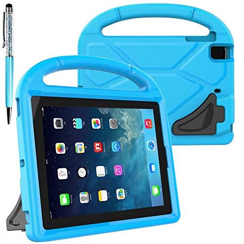 FineGood Funda protectora compatible con Apple iPad mini 1, 2, 3, 4, convertible ligera, a prueba de golpes, funda de EVA con asa de transporte y soporte, con lápiz capacitivo, color azul