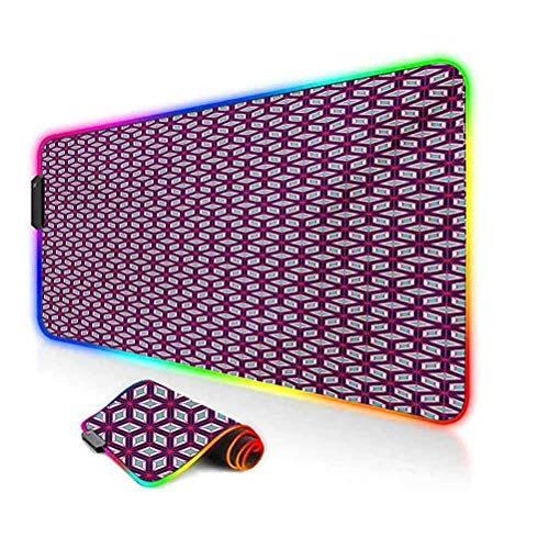 RGB Gaming Mouse Pad Mat,Modern Simple Mosaic Composition with Diamond Shapes and Lines in Vivid Colors Non-Slip Mousepad Rubber Base,35.6'x15.7',for MacBook,PC,Laptop,Desk Multicolor
