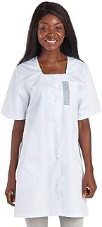compatible IFSI blouse blanche femme blouse blanche hopital manche courte lavage industriel blouse dinfirmiere blouse aide soignante auxiliaire de pu/ériculture Blouse medicale femme blanche