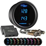 """GlowShift 10 Color Digital Dual Wideband Air/Fuel Ratio AFR Gauge - Includes Oxygen Sensors, Data Logging Output & Weld-in Bungs - 2 Multi-Color LED Displays - Tinted Lens - 2-1/16"""" (52mm)"""