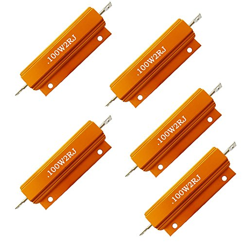 Comidox Set of 5 100W Watt Shell Power Aluminum Housed Case Wirewound Resistor 2R Ohm