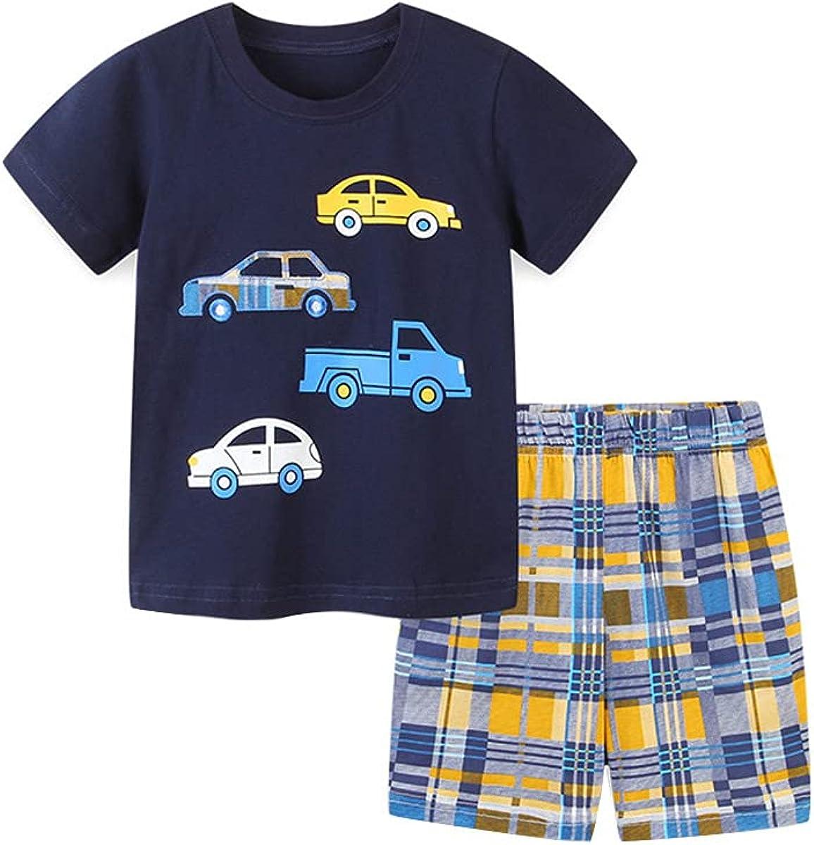 Rabuet Baby Boys' Summer Cute Cartoon Short Sleeve Shorts Cotton Outfit Set
