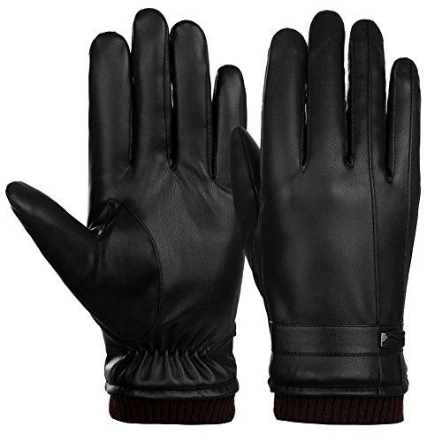 Vbiger Gants en cuir à écran tactile Gants chauds à l'hiver Mitaines cyclistes épaisses Gants de sport pour hommes, Noir, M