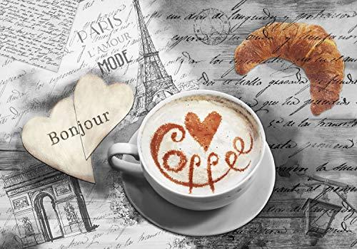 decomonkey Fototapete Coffee Paris 350x256 cm XL Tapete Fototapeten Vlies Tapeten Vliestapete Wandtapete moderne Wandbild Wand Schlafzimmer Wohnzimmer Eiffelturm Spruch