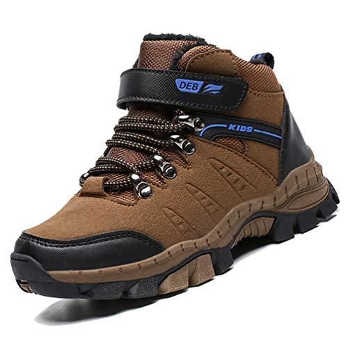 LANSEYAOJI Scarpe da Escursionismo Stivali da Neve Scarpe da Trekking Unisex -Bambini Scarpe da Cotone Invernali Outdoor Multisport Scarpe da Arrampicata Sneaker,Marrone,EU33