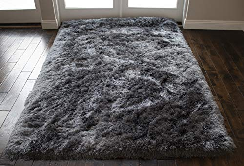 8x10 Feet Hand Woven Modern Contemporary Charcoal Dark Gray Dark Grey Color Solid Area Rug Carpet Rug Bedroom Living Room Indoor Shag Shaggy Canvas Backing Plush Pile Office Space Fluffy Fuzzy Furry