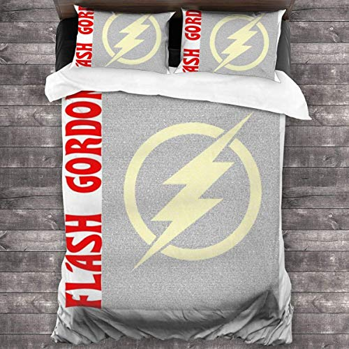 Yuanmeiju Flash Gordon Film Script Silhouette 3 Pieces Bedding Set Duvet Cover 86x70 Inch Decorative 3 Piece Bedding Set with 2 Pillow Shams