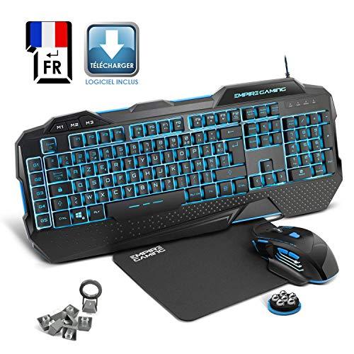 EMPIRE GAMING - Nouveau - Pack Gamer PC Hellhounds - Pack Clavier gamers, souris gamer, tapis gaming - Programmable avec logiciel - Rétro-éclairage LED RGB - 7200 DPI - Compatible Windows