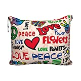 Travel Pillow Blanket Set for Airplanes, Foldable Flannel Blanket and Portable Throw Pillow 2 in 1 Combo, Peace and Love Print