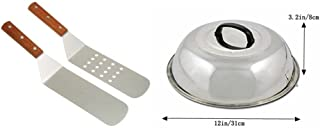 Broilmann 12inch Stainless Steel Lid with Hook +2 Shovels,12 Inch Round Basting Cover Fit Blackstone, Cheese Melting Dome and Steaming Cover - Best for Use in Flat Top Griddle Grill Cooking