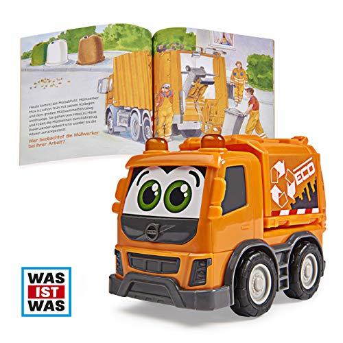 Dickie Toys Was ist Was-Müllabfuhr, Volvo Müllabfuhr mit Freilauf, inkl. Was ist Was Buch, farbecht und speichelfest, Spielzeug ab 1 Jahr, 14,5 cm, orange