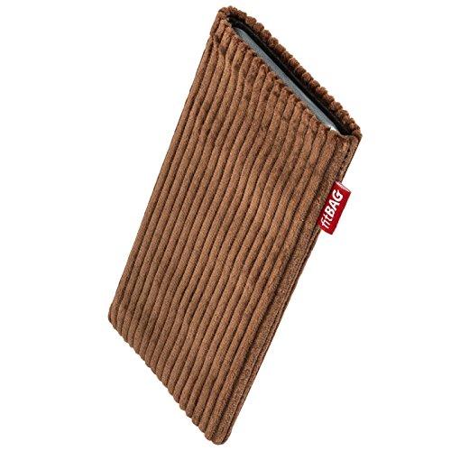 fitBAG Retro Braun Handytasche Tasche aus Cord-Stoff mit Microfaserinnenfutter für Bea-fon Beafon SL240 | Hülle mit Reinigungsfunktion | Made in Germany