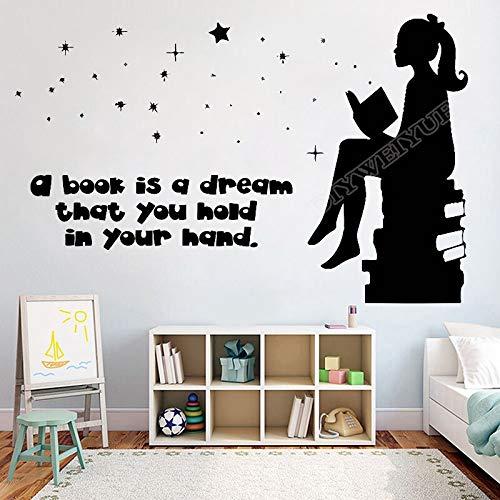 Libro libro es un sueño lectura librería librería vinilo etiqueta de la pared hermosa niña niña