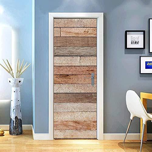 KGKBH Pegatinas de puerta 3D Creativo retro simple de madera. 95x215cm Creativo mural de puerta Vinilo Impermeable Autoadhesivo Removible Papel Tapiz PVC Sala De estar Cuarto De Murales Posters Decora