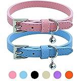 PUPTECK 2 PCS Soft Leather Cat Kitten Collar-Orange, Purple, Black, Khaki, Pink, Blue