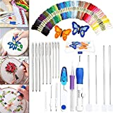 1 Set Embroidery Hoops Threads Bamboo Circle DIY Punch Stitch Tools Round Rings Sewing Kit
